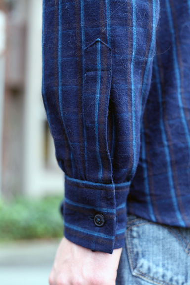 blue cotton flannel shirt
