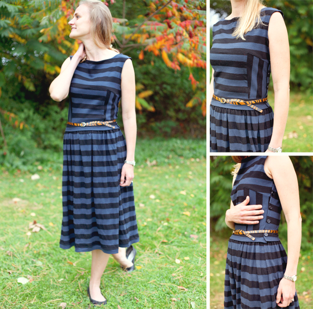 Striped Wool Jersey Dres