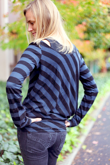 Striped wool jersey top