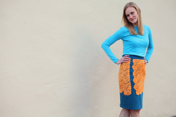 blue and orange lace skirt