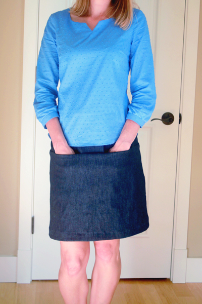 Dotted Cotton Voile Blouse and Navy Denim Skirt