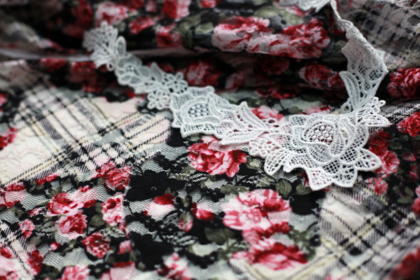 Sew Well - Stretch Lace - Floral and black tartan