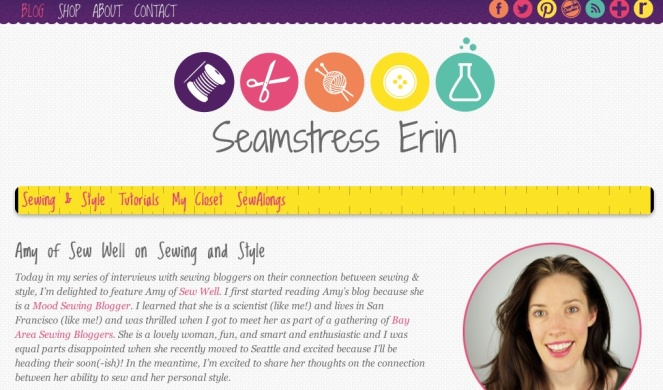 Amy of Sew Well with Seamstress Erin on Sewing and Style