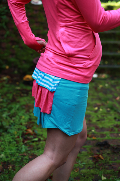 Hoodies and running skirt made from Mood Fabrics' bamboo jersey.