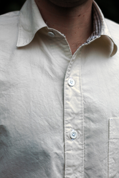 Men's button-up shirt made from Mood Fabric' silk and cotton blend shirting by Sew Well