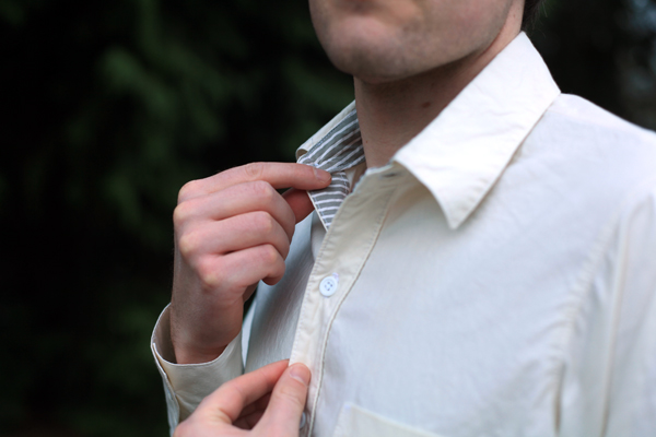 Men's button-up shirt made from Mood Fabrics' silk and cotton blend shirting by Sew Well