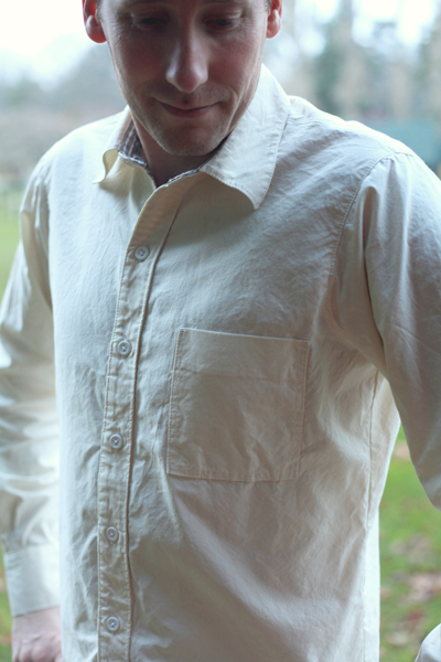 Men's button-up shirt made from Mood' Fabrics' silk and cotton blend shirting by Sew Well