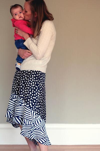Sew Well - Mariska skirt in spots and stripes