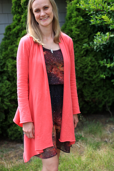 Sew Well - Saltspring Dress and Nina Cardigan made with Mood Fabrics.