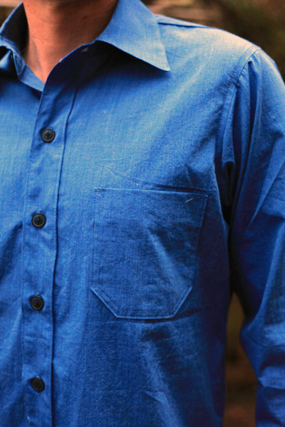 Sew Well - Men's button-up shirt made from #moodfabrics