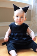Sew Well Halloween - Black Kitten - Oliver + S Bubble Dress made from #MoodFabrics