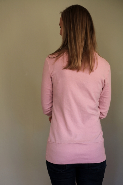 Sew Well - Cowl-neck Renfrew in #moodfabrics pink cotton jersey