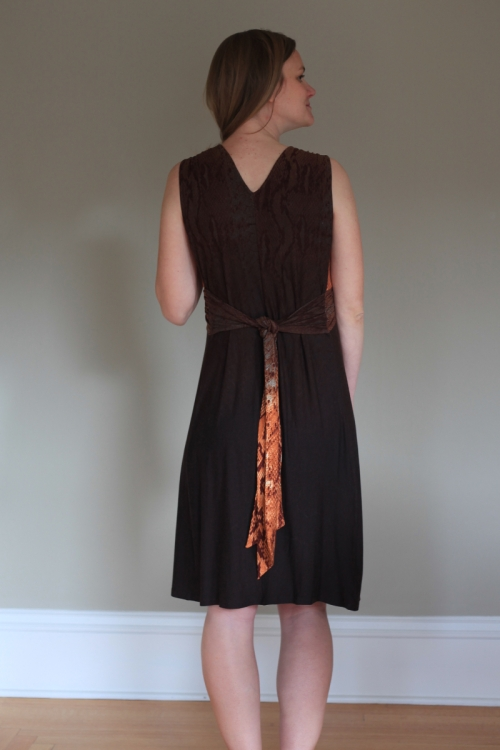 A Mood Fabrics Border Print BurdaStyle Twist Dress on Sew Well