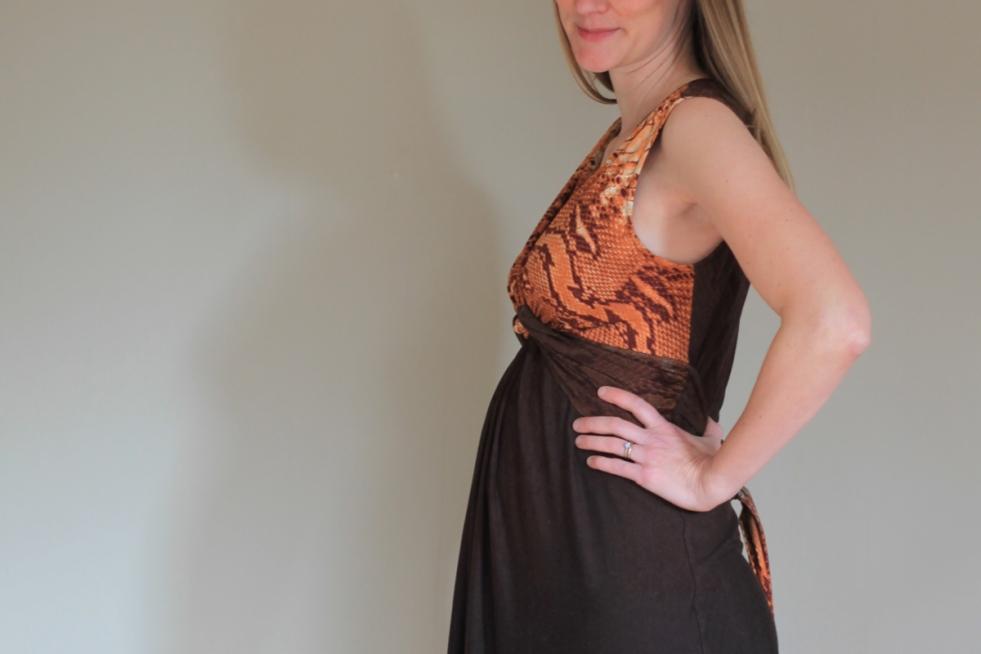 A Mood Fabrics Border Print BurdaStyle Twist Dress on Sew Well