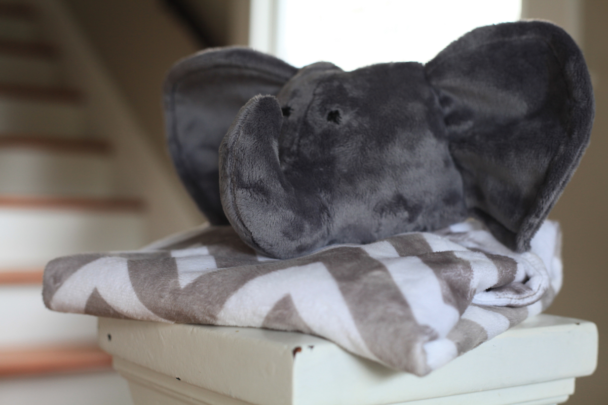 A Hello and a Goodbye: Gray Chevron Elephant Baby Blanket